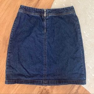 Tommy Hilfiger Front Zip Denim A-Line Mini Skirt